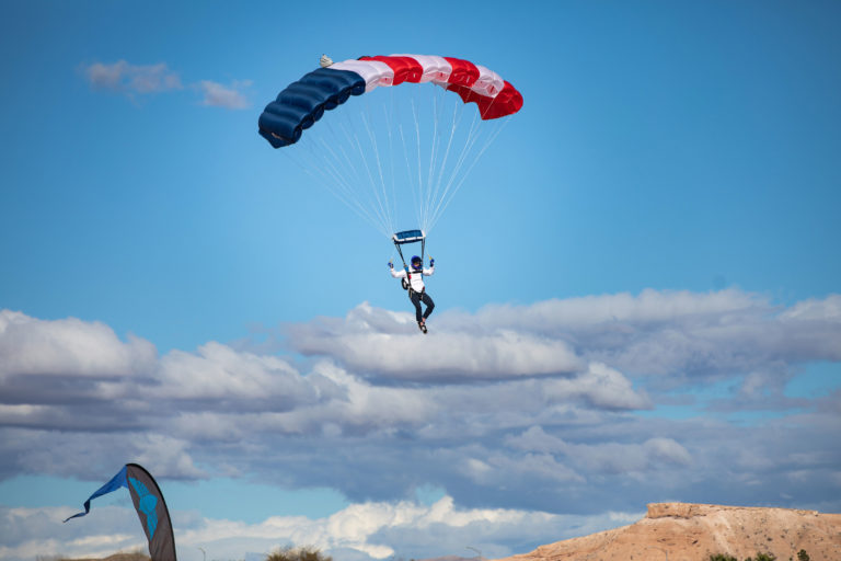 red white and blue parachute