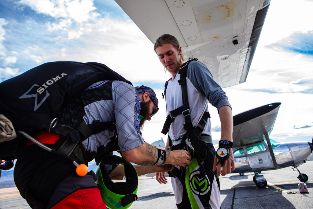 Getting geared up for a skydive near st george